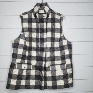 Talbots Black/White Checkered Puffer Vests Size 2X